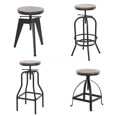 Vintage Bar Stool Industrial Metal Design Wood Top Adjustable Height Swivel M9I3