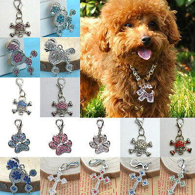 Dog Cat Tag Disc Disk Rhinestone Bling Collar Necklace Pendant Pet ID Paw Crown