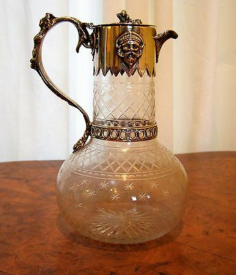 Figural Silver Plate Mounted Cut/Etched  Glass Claret Jug/Pitcher