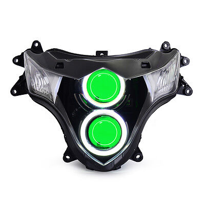 KT LED Halo Angel Eyes Headlight Assembly For Suzuki GSXR1000 2009-2016 Green