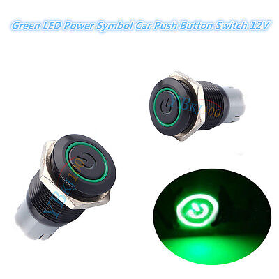 12V 16mm Green LED Light Car Auto Power Symbol Metal Push Button Toggle Switch