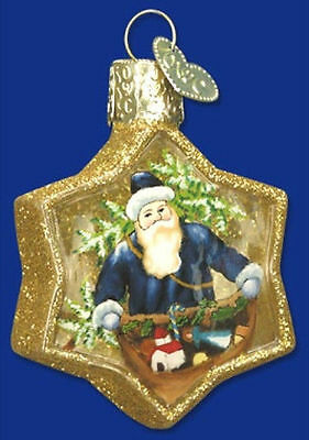 *Inside Art - Santa on Gold Star* Old World Christmas Glass Ornament - NEW
