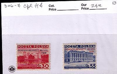 Poland Stamps 1936 GORDON-BENNET overprint SC# 306-7 MH OG
