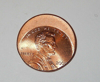 Off Center Lincoln penny error coin, dated 2000 cent, BEAUTIFUL