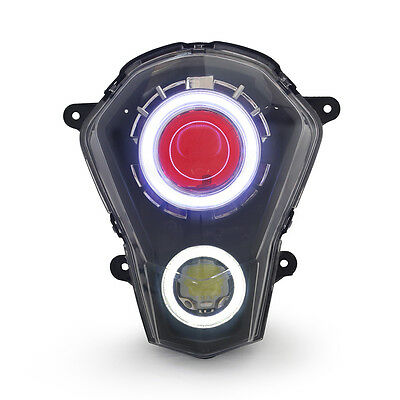 KT LED Halo Angel Demon Eyes Headlight Assembly For KTM Duke 390 2013-2016 Red