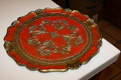 """VINTAGE FLORENTIA hand made decorative tray Italy Florentine Wood  11 3/4""""D RED"""