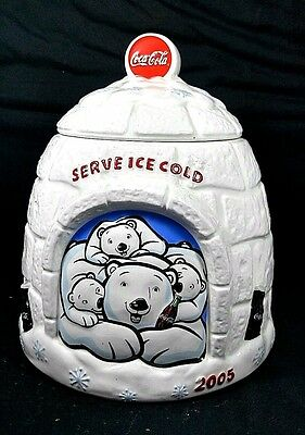 Collectible 2005 COCA COLA Bears Igloo Cola Cookie Jar Canisters Houston Harvest