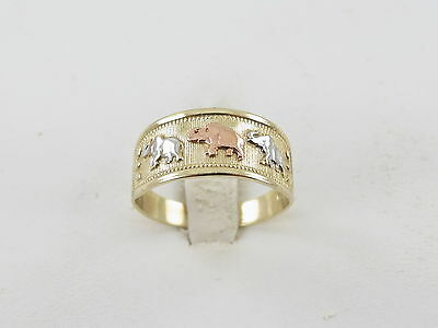 14K Yellow  White And Rose Gold Elephant Band Ring Size 9 1/4