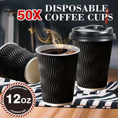 50X Disposable Coffee Cups 12 oz Takeaway Paper Triple Wall Take Away Bulk Black