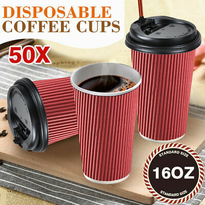 50x Disposable Takeaway Paper Coffee Cups 16 oz Triple Wall Take Away Bulk Red