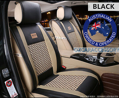 Black Universal Leather Car Seat Covers Full Set Toyota Camry Corolla RAV4 CM