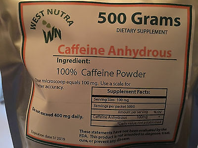 Caffeine 100% - Pure powdered 1 Kilogram  with measuring spoons,  1,000 Grams