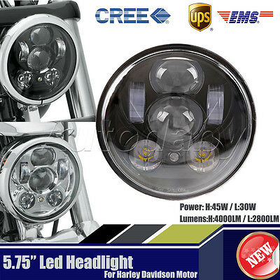 1x 5-3/4Inch LED Motorcycle Headlight Daymaker Black Projector DRL For Harley