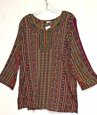 Women's Multi Color Top / Tunic  with Paisley print ~ L to XL ~ 3/4 sleeves