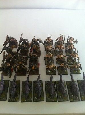 Warhammer Fantasy Age Of Sigmar Painted Warriors Of Chaos Army Lot W/ Beastmen !