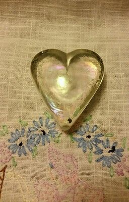 Irredescent Glass Heart Paperweight