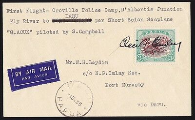 PAPUA 1935 1st Flight cover Oroville-Daru Lakatoi Signed RARE ONLY 117 FLOWN!