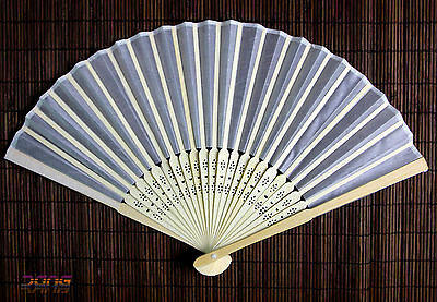 New 10pcs Wedding Favours White Silk Fan With Gift Bag Party