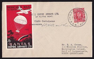 AUSTRALIA 1942 Mornington Is Parachute Mail cover Signed by Pilot ONLY 325 flown