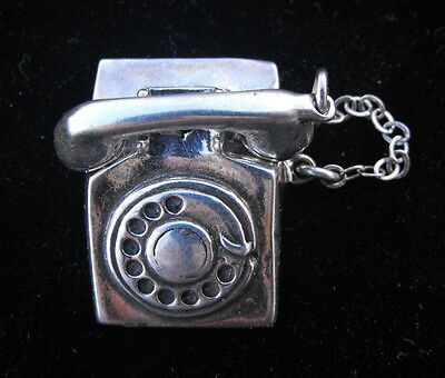 Vintage Jezlaine Sterling Silver 925 Telephone Shaped Brooch