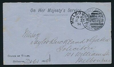 VICTORIA Frank Stamp 1894 Attorney General cover