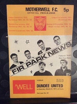 Motherwell v Dundee United Scottish League 27th March 1971