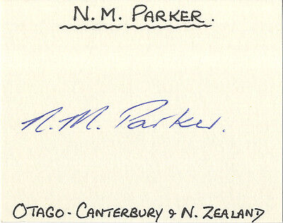 New-Zealand Test Cricket - Murray Parker Signed Card.