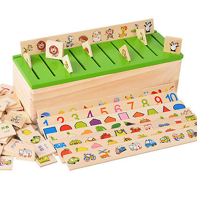 Numbers Animals Wooden Cognition Classification Card Baby Toddler Education Toys