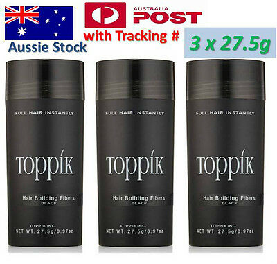 3x TOPPIK PACK Hair Loss Building Fibers 82.5g Conceals Thinning to Bald Hair