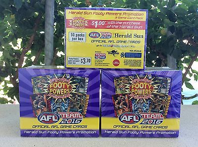 2 SEALED BOXES 2016 FOOTY POWERS AFL TEAMCOACH HERALD SUN x 2 FACTORY SEALED