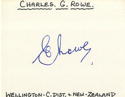 New-Zealand Test Cricket - Charles.G.Rowe Signed Card.