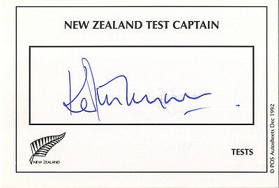 New-Zealand Test Cricket - Ken Rutherford Signed Card.