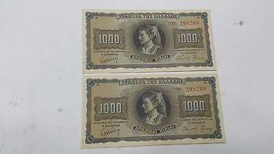 GREECE 1000 Drachmai 1942 ALMOST UNC CONSECUTIVE NUMBERS  Banknote