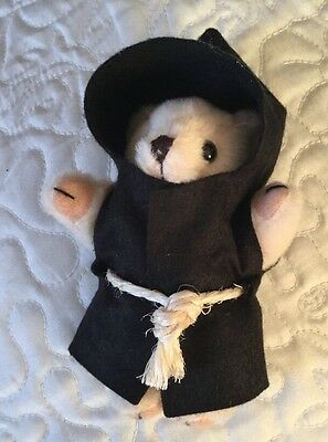 Teddy Bear In Black Habit With Cowl And String Girdle - Collectors Item
