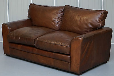 Vintage Distressed Aged Brown Leather Two Seater Club Sofa From Halo London