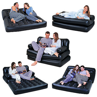 New 5 In 1 Inflatable Double Blow Up Sofa Couch Air Lounger Bed Mattress Home
