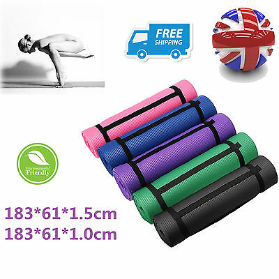 Yoga Mat 10mm Thick Exercise Fitness Physio Pilates Gym Mats Non Slip Carrier OM