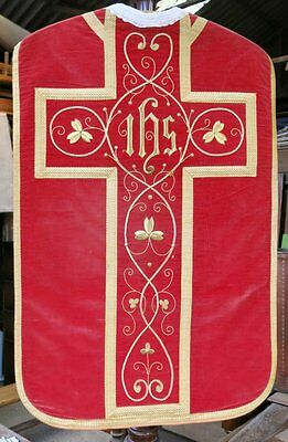 Antique High Mass Ecclesiastical Chasuble In Burnt Orange Silk Velvet
