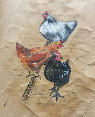 ORIGINAL BETHAN HOULSTON FINE ART DRAWING Three Chickens Soft Pastel and Ink
