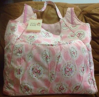 Large Groves Hobby Gift Knitting / Craft Tote Storage Bag Pink With Flowers BNWT
