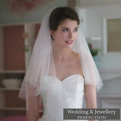 Ivory White 2t Bridal Wedding Veil with Comb Elbow length Cut Edge Tier Satin