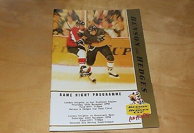 London Knights vs Ayr 12 Nov and vs Bracknell 14 Nov 1998 - Ice Hockey Programme
