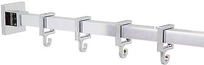 Croydex Luxury Square Bathroom Shower Bath Curtain Rod Rail With Hooks 250cm