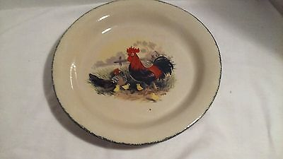 Stoneware Ceramic rooster pie dish, fluted pie or tart dish 10 inch.