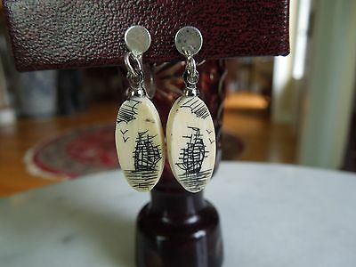 ANTIQUE VINTAGE SCRIMSHAW Sailing Ships EARRINGS Dangle Screwbacks