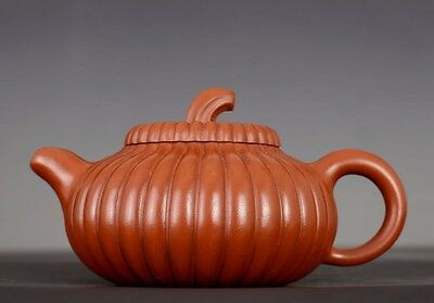 Unique Rare Old Chinese Yixing Handmade Pottery Pumpkin Zisha Teapot PT063