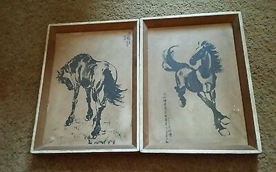 a pair of old famous artist print in frame