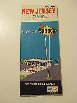 Vintage 1968-1969 SUNOCO NEW JERSEY Gas Service Station Road Map