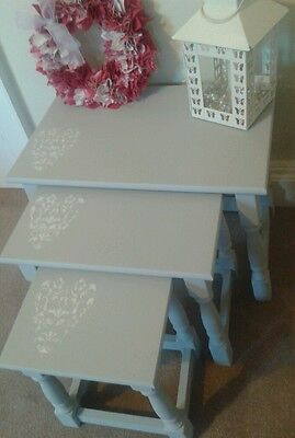 Nest Of 3 Solid Wood Tables Painted In Paris Grey With Stencil