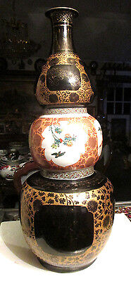 "ANTIQUE 28""TALL Chinese BLACK & GOLD /BIRD PORCELAIN TRIPLE GOURD VASE"